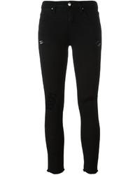 schwarze Baumwolle enge Jeans mit Destroyed-Effekten von IRO