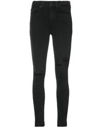 schwarze Baumwolle enge Jeans mit Destroyed-Effekten von Paige