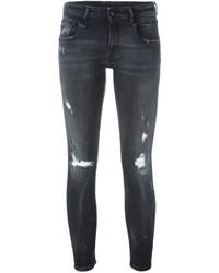 Schwarze Baumwolle Enge Jeans mit Destroyed-Effekten von R 13