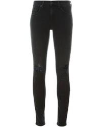 schwarze Baumwolle Enge Jeans mit Destroyed-Effekten von Rag & Bone