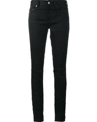 schwarze Baumwolle enge Jeans mit Destroyed-Effekten von Saint Laurent