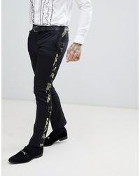 schwarze bedruckte Anzughose