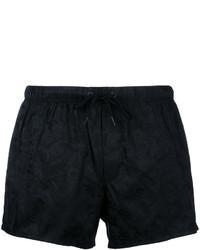 schwarze bedruckte Badeshorts von Versace