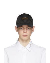 schwarze bedruckte Baseballkappe von Gucci