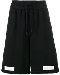 schwarze bedruckte Baumwollshorts von Off-White