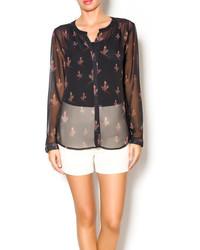 schwarze bedruckte Bluse mit Knöpfen