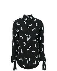 schwarze bedruckte Bluse mit Knöpfen von Saint Laurent