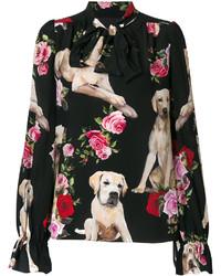 schwarze bedruckte Bluse von Dolce & Gabbana