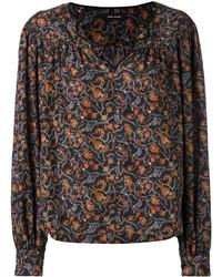 schwarze bedruckte Bluse von Isabel Marant