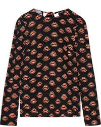 schwarze bedruckte Bluse von Prada