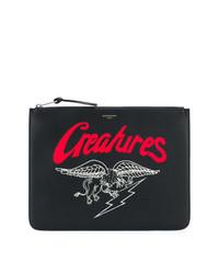 schwarze bedruckte Clutch Handtasche von Givenchy
