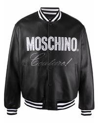 schwarze bedruckte Collegejacke von Moschino