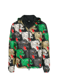 schwarze bedruckte Daunenjacke von Gucci
