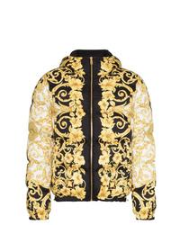 schwarze bedruckte Daunenjacke von Versace