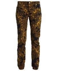 schwarze bedruckte enge Hose von Versace