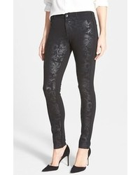 schwarze bedruckte enge Jeans