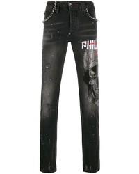 schwarze bedruckte enge Jeans von Philipp Plein