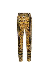 schwarze bedruckte enge Jeans von Versace