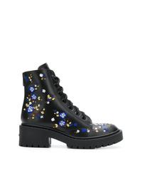 schwarze bedruckte flache Stiefel mit einer Schnürung aus Leder von Kenzo
