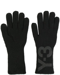 schwarze bedruckte Handschuhe von Y-3