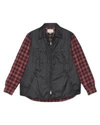 schwarze bedruckte Harrington-Jacke von Gucci