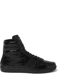schwarze bedruckte hohe Sneakers aus Leder