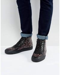 schwarze bedruckte hohe Sneakers aus Leder von Hugo Boss