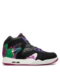 schwarze bedruckte hohe Sneakers aus Leder von Nike