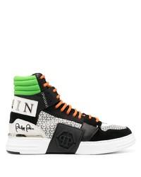 schwarze bedruckte hohe Sneakers aus Leder von Philipp Plein