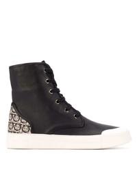 schwarze bedruckte hohe Sneakers aus Leder von Salvatore Ferragamo