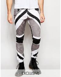 schwarze bedruckte Jeans