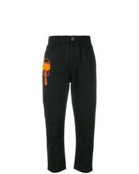 schwarze bedruckte Jeans von Fendi