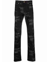 schwarze bedruckte Jeans von Versace