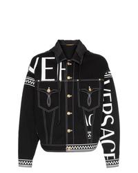schwarze bedruckte Jeansjacke