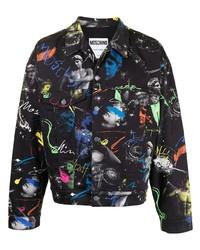 schwarze bedruckte Jeansjacke von Moschino