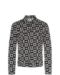 schwarze bedruckte Shirtjacke aus Jeans von Dolce & Gabbana