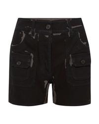 schwarze bedruckte Jeansshorts von Prada