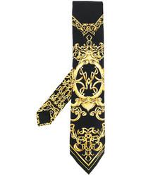 schwarze bedruckte Krawatte von Versace