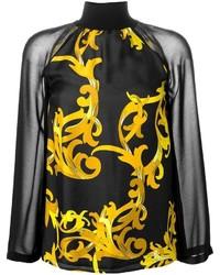schwarze bedruckte Langarmbluse von Versace