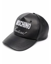 schwarze bedruckte Leder Baseballkappe von Moschino