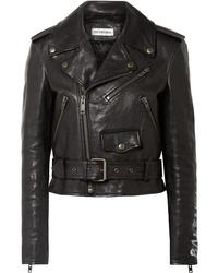 schwarze bedruckte Leder Bikerjacke von Balenciaga
