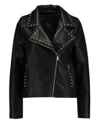 schwarze bedruckte Leder Bikerjacke von Even&Odd