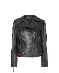 schwarze bedruckte Leder Bikerjacke von Marc Cain