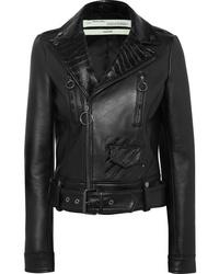 schwarze bedruckte Leder Bikerjacke von Off-White