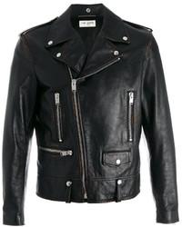 schwarze bedruckte Leder Bikerjacke von Saint Laurent