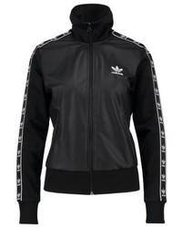 schwarze bedruckte Leder Bomberjacke von adidas