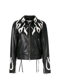 schwarze bedruckte Leder Bomberjacke von McQ Alexander McQueen
