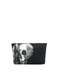 schwarze bedruckte Leder Clutch Handtasche von Alexander McQueen