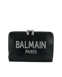 schwarze bedruckte Leder Clutch Handtasche von Balmain