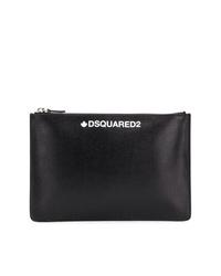 schwarze bedruckte Leder Clutch Handtasche von DSQUARED2